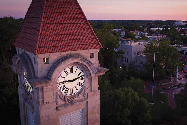 The Student Building clock tower at Indiana University Bloomington.